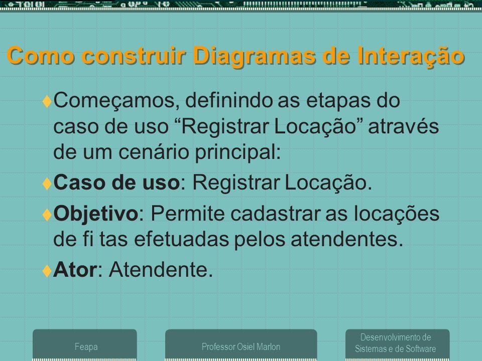 Desenvolvimento de Sistemas e de Software FeapaProfessor Osiel Marlon Como construir Diagramas de Interação  Começamos, definindo as etapas do caso d