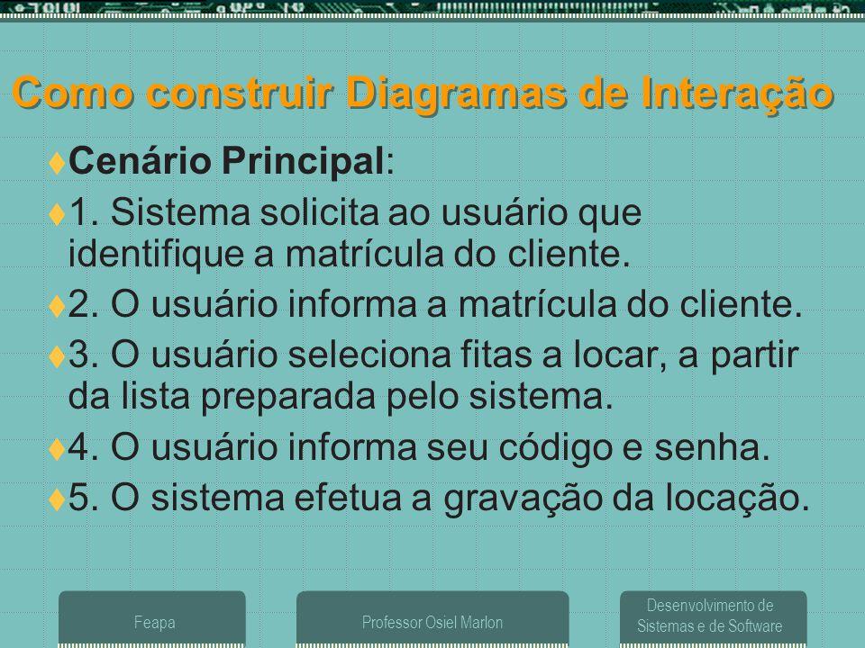 Desenvolvimento de Sistemas e de Software FeapaProfessor Osiel Marlon Como construir Diagramas de Interação  Cenário Principal:  1. Sistema solicita