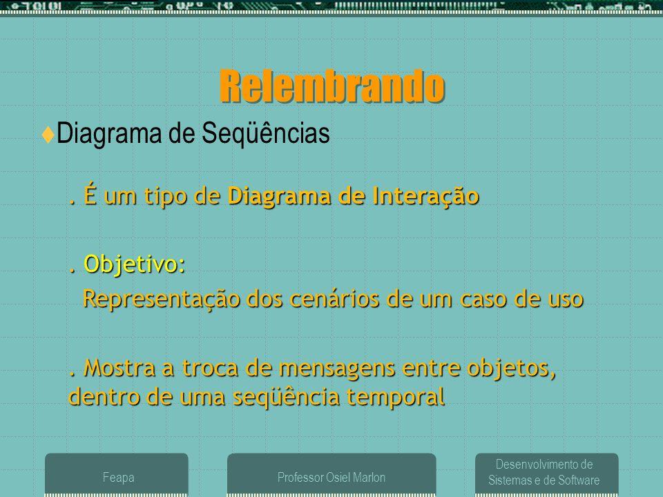 Desenvolvimento de Sistemas e de Software FeapaProfessor Osiel Marlon Relembrando  Diagrama de Seqüências. É um tipo de Diagrama de Interação. Objeti