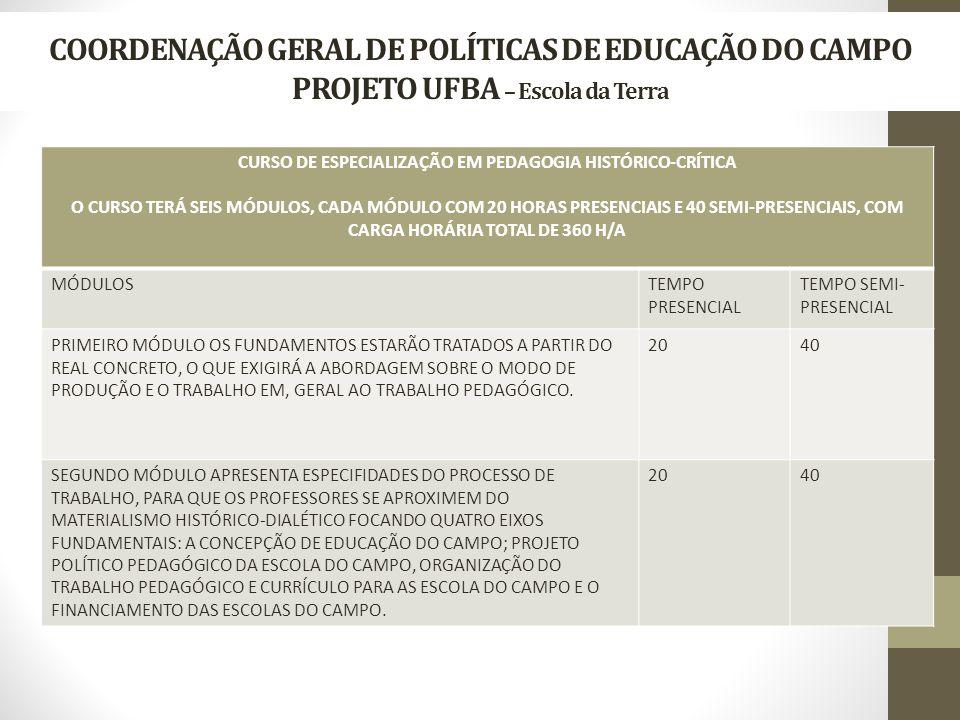 COORDENAÇÃO GERAL DE POLÍTICAS DE EDUCAÇÃO DO CAMPO PROJETO UFBA – Escola da Terra CURSO DE ESPECIALIZAÇÃO EM PEDAGOGIA HISTÓRICO-CRÍTICA O CURSO TERÁ SEIS MÓDULOS, CADA MÓDULO COM 20 HORAS PRESENCIAIS E 40 SEMI-PRESENCIAIS, COM CARGA HORÁRIA TOTAL DE 360 H/A MÓDULOSTEMPO PRESENCIAL TEMPO SEMI- PRESENCIAL PRIMEIRO MÓDULO OS FUNDAMENTOS ESTARÃO TRATADOS A PARTIR DO REAL CONCRETO, O QUE EXIGIRÁ A ABORDAGEM SOBRE O MODO DE PRODUÇÃO E O TRABALHO EM, GERAL AO TRABALHO PEDAGÓGICO.