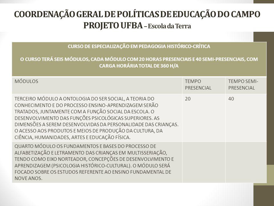 COORDENAÇÃO GERAL DE POLÍTICAS DE EDUCAÇÃO DO CAMPO PROJETO UFBA – Escola da Terra CURSO DE ESPECIALIZAÇÃO EM PEDAGOGIA HISTÓRICO-CRÍTICA O CURSO TERÁ SEIS MÓDULOS, CADA MÓDULO COM 20 HORAS PRESENCIAIS E 40 SEMI-PRESENCIAIS, COM CARGA HORÁRIA TOTAL DE 360 H/A MÓDULOSTEMPO PRESENCIAL TEMPO SEMI- PRESENCIAL TERCEIRO MÓDULO A ONTOLOGIA DO SER SOCIAL, A TEORIA DO CONHECIMENTO E DO PROCESSO ENSINO-APRENDIZAGEM SERÃO TRATADOS, JUNTAMENTE COM A FUNÇÃO SOCIAL DA ESCOLA.