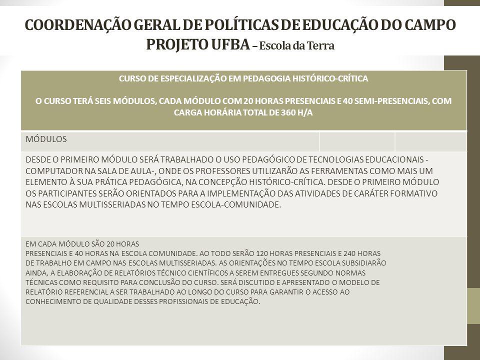 COORDENAÇÃO GERAL DE POLÍTICAS DE EDUCAÇÃO DO CAMPO PROJETO UFBA – Escola da Terra CURSO DE ESPECIALIZAÇÃO EM PEDAGOGIA HISTÓRICO-CRÍTICA O CURSO TERÁ SEIS MÓDULOS, CADA MÓDULO COM 20 HORAS PRESENCIAIS E 40 SEMI-PRESENCIAIS, COM CARGA HORÁRIA TOTAL DE 360 H/A MÓDULOS DESDE O PRIMEIRO MÓDULO SERÁ TRABALHADO O USO PEDAGÓGICO DE TECNOLOGIAS EDUCACIONAIS - COMPUTADOR NA SALA DE AULA-, ONDE OS PROFESSORES UTILIZARÃO AS FERRAMENTAS COMO MAIS UM ELEMENTO À SUA PRÁTICA PEDAGÓGICA, NA CONCEPÇÃO HISTÓRICO-CRÍTICA.