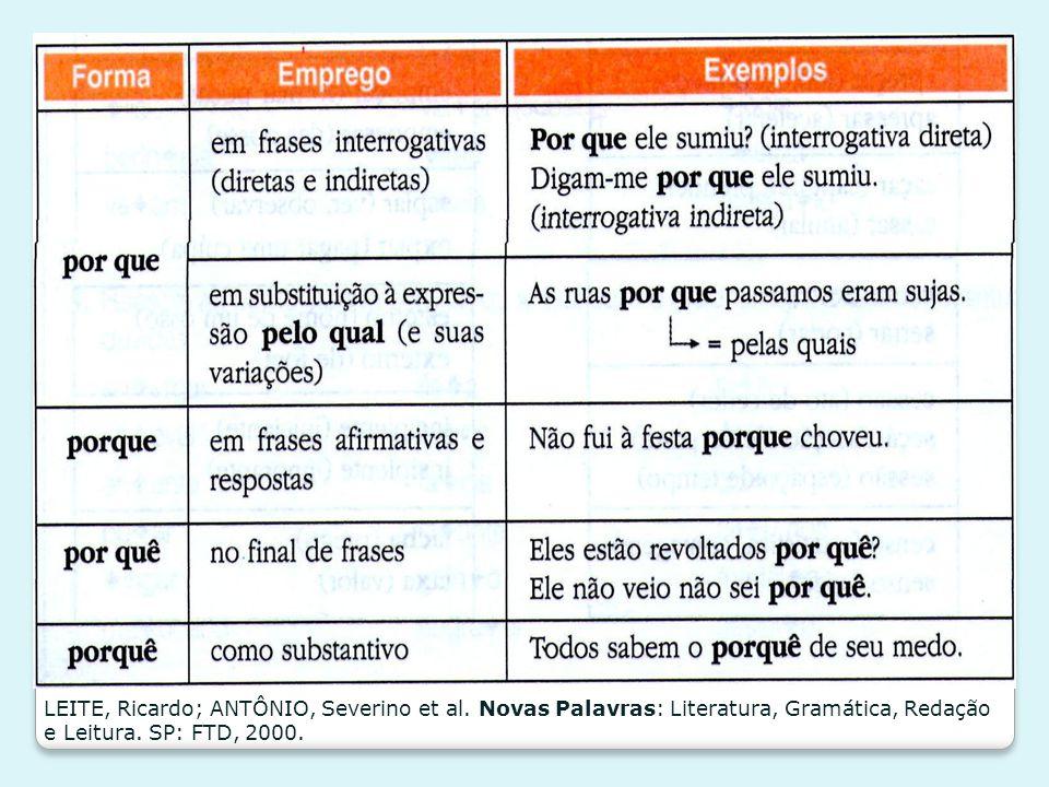 LEITE, Ricardo; ANTÔNIO, Severino et al. Novas Palavras: Literatura, Gramática, Redação e Leitura. SP: FTD, 2000.