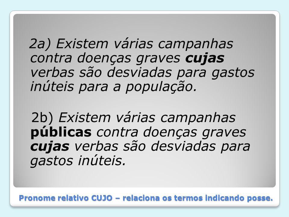 Pronome relativo CUJO – relaciona os termos indicando posse. 2a) Existem várias campanhas contra doenças graves cujas verbas são desviadas para gastos