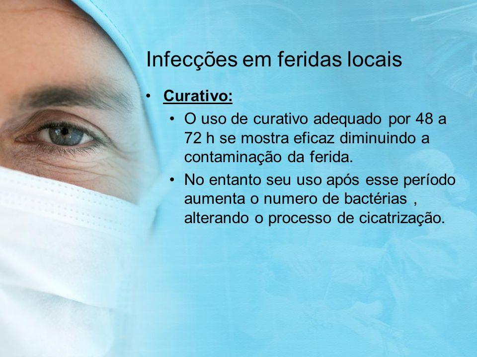 Infecções em feridas locais Curativo: O uso de curativo adequado por 48 a 72 h se mostra eficaz diminuindo a contaminação da ferida.