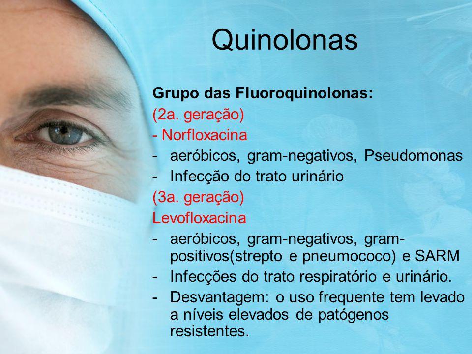 Quinolonas Grupo das Fluoroquinolonas: (2a.