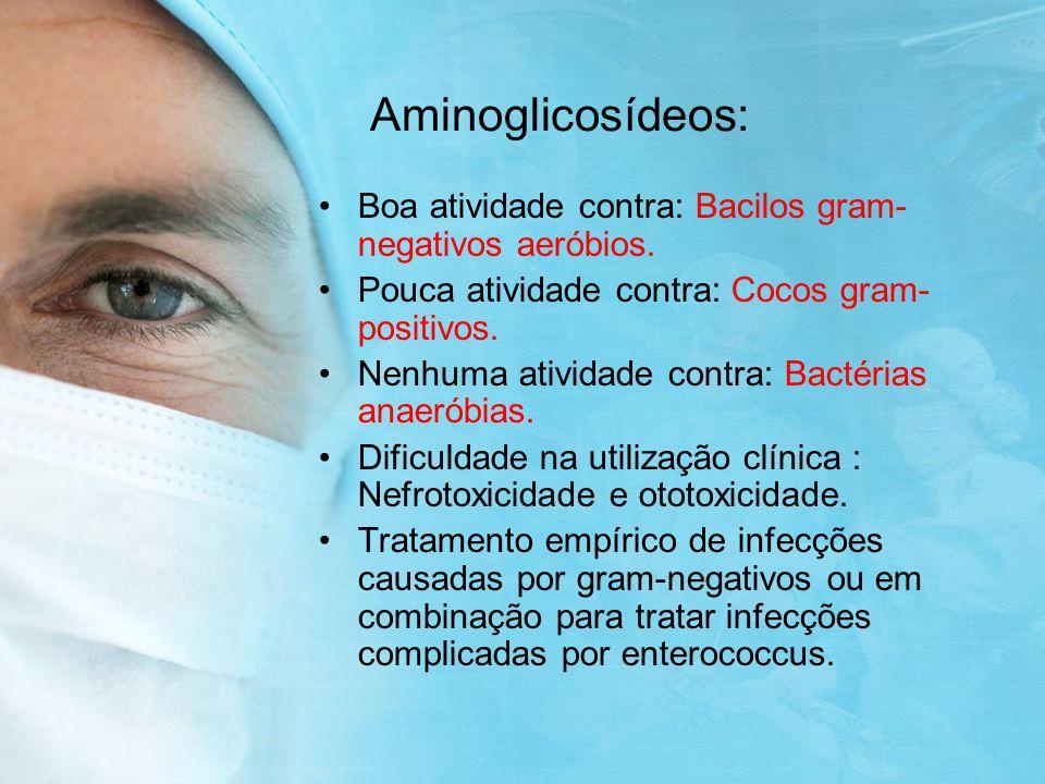 Aminoglicosídeos: Boa atividade contra: Bacilos gram- negativos aeróbios.