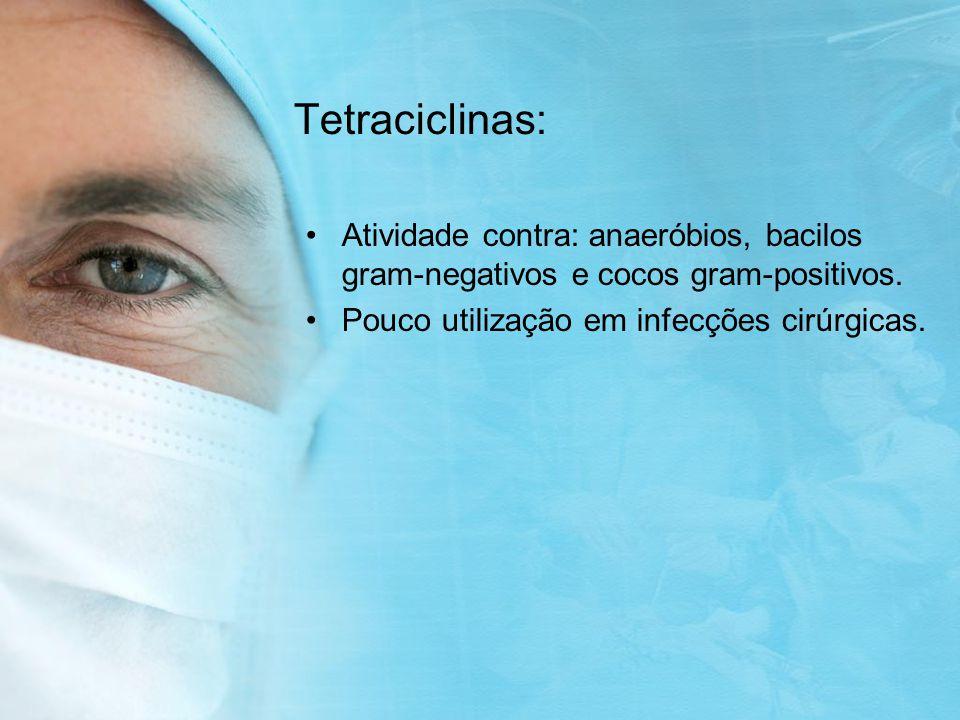Tetraciclinas: Atividade contra: anaeróbios, bacilos gram-negativos e cocos gram-positivos.
