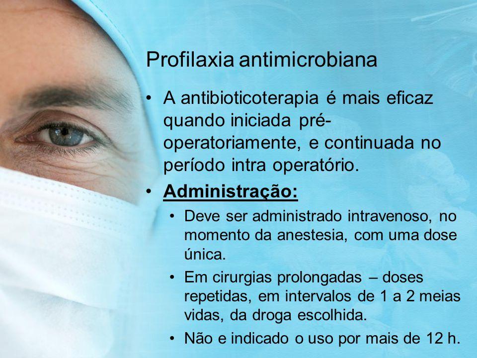 Profilaxia antimicrobiana É normalmente ineficaz em situações onde ocorre provável infecção continua como: Traqueostomia, ou entubação traqueal Cateteres urinários permanentes Cateteres venosos permanentes Feridas ou drenos torácicos Feridas abertas(incluindo queimaduras.