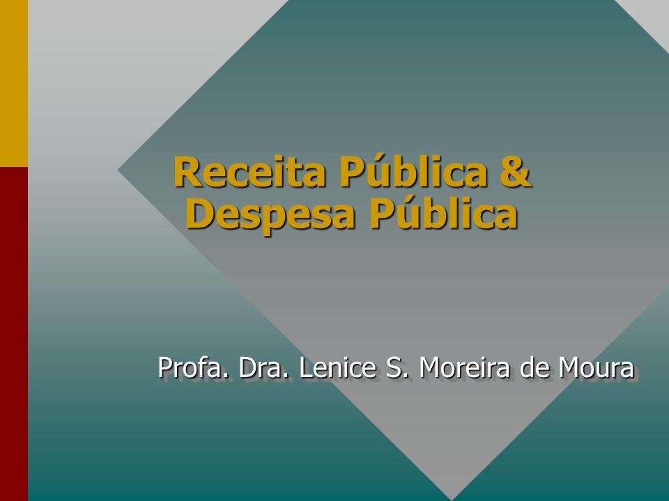 Receita Pública & Despesa Pública Profa. Dra. Lenice S. Moreira de Moura Profa. Dra. Lenice S. Moreira de Moura