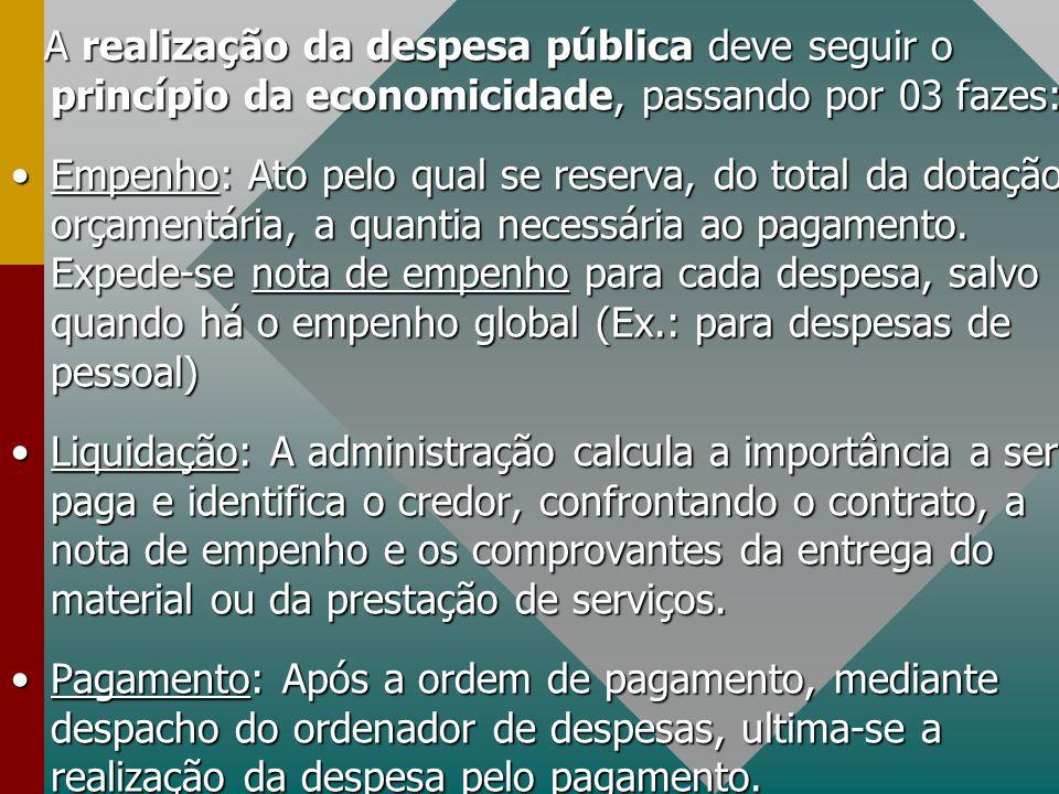 A realização da despesa pública deve seguir o princípio da economicidade, passando por 03 fazes: A realização da despesa pública deve seguir o princíp