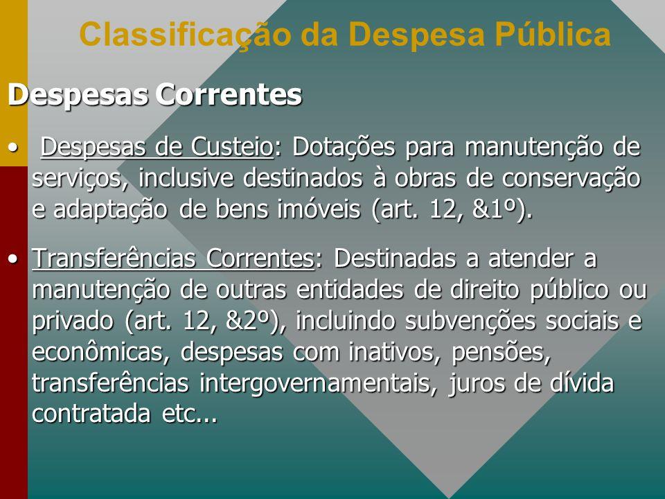 Classificação da Despesa Pública Despesas Correntes Despesas de Custeio: Dotações para manutenção de serviços, inclusive destinados à obras de conservação e adaptação de bens imóveis (art.