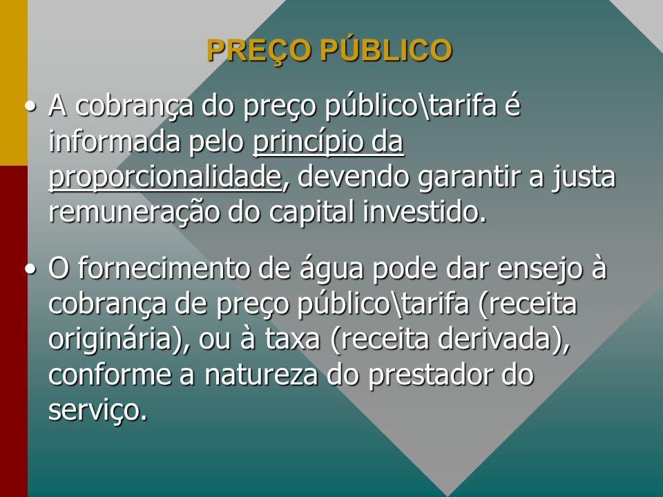 PREÇO PÚBLICO A cobrança do preço público\tarifa é informada pelo princípio da proporcionalidade, devendo garantir a justa remuneração do capital investido.A cobrança do preço público\tarifa é informada pelo princípio da proporcionalidade, devendo garantir a justa remuneração do capital investido.