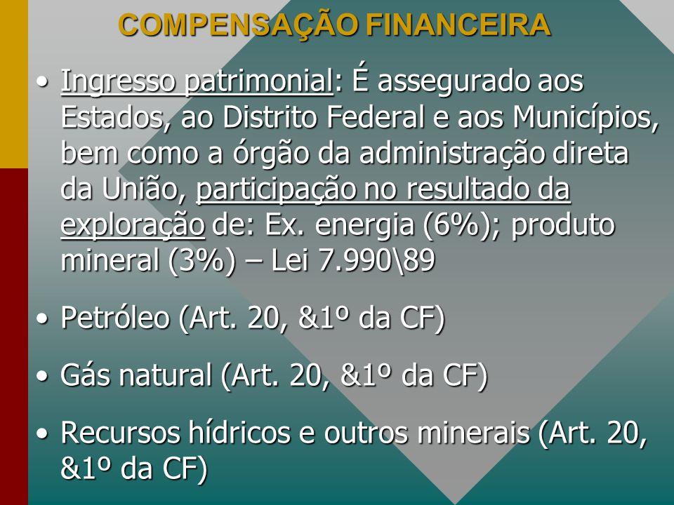COMPENSAÇÃO FINANCEIRA Ingresso patrimonial: É assegurado aos Estados, ao Distrito Federal e aos Municípios, bem como a órgão da administração direta