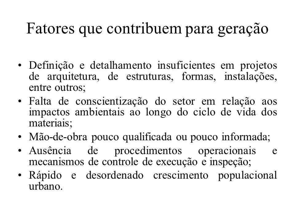 Gerenciamento dos Resíduos Sólidos de Construção Civil Os geradores deverão ter como objetivo prioritário a não geração de resíduos e, secundariamente, a redução, a reutilização, a reciclagem e a destinação final.