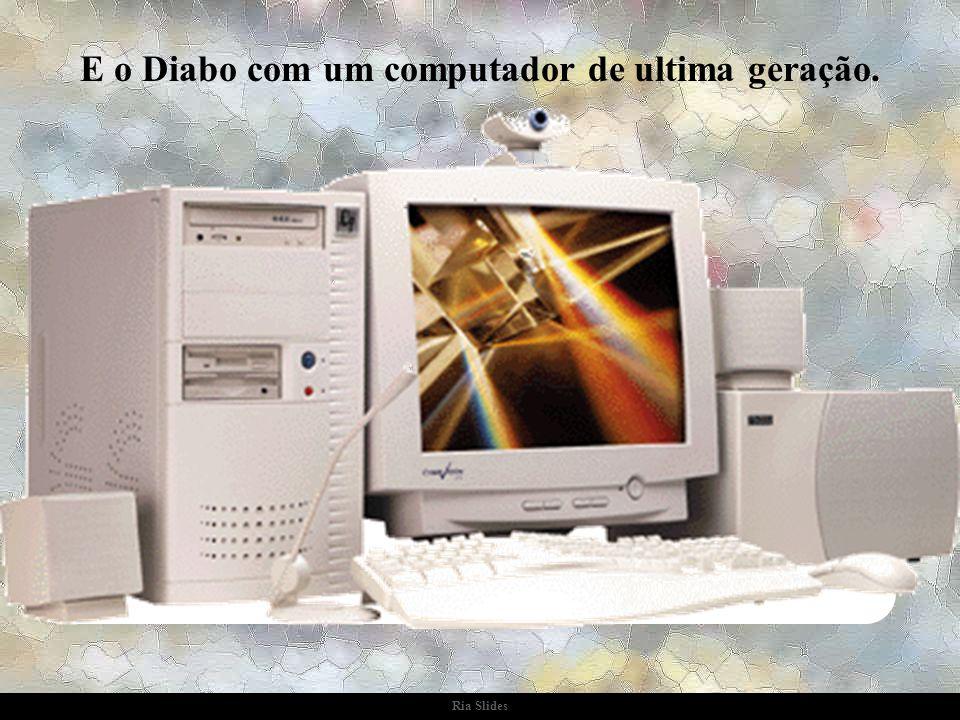 """Ria Slides No dia marcado, Jesus de um lado com um computador antigo, praticamente """"desmemoriado""""..."""