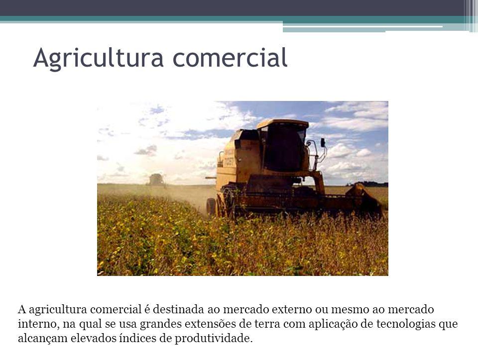 Agricultura comercial A agricultura comercial é destinada ao mercado externo ou mesmo ao mercado interno, na qual se usa grandes extensões de terra co