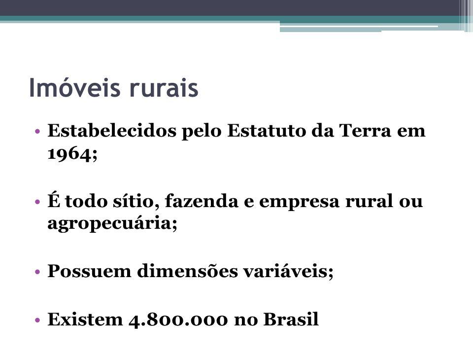Imóveis rurais Estabelecidos pelo Estatuto da Terra em 1964; É todo sítio, fazenda e empresa rural ou agropecuária; Possuem dimensões variáveis; Exist