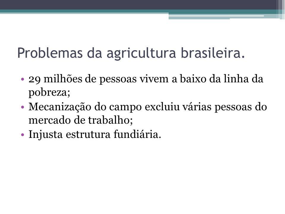 Problemas da agricultura brasileira. 29 milhões de pessoas vivem a baixo da linha da pobreza; Mecanização do campo excluiu várias pessoas do mercado d