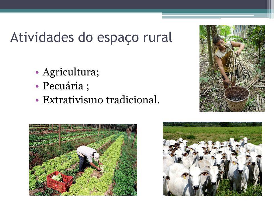 Atividades do espaço rural Agricultura; Pecuária ; Extrativismo tradicional.