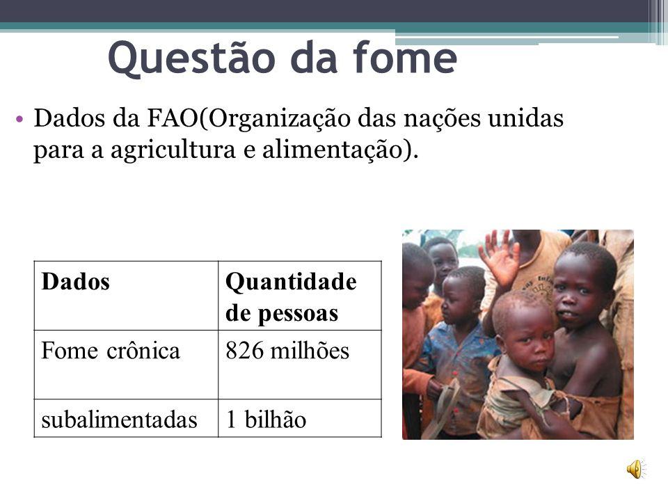 Questão da fome Dados da FAO(Organização das nações unidas para a agricultura e alimentação). DadosQuantidade de pessoas Fome crônica826 milhões subal