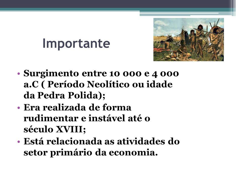 Importante Surgimento entre 10 000 e 4 000 a.C ( Período Neolítico ou idade da Pedra Polida); Era realizada de forma rudimentar e instável até o sécul