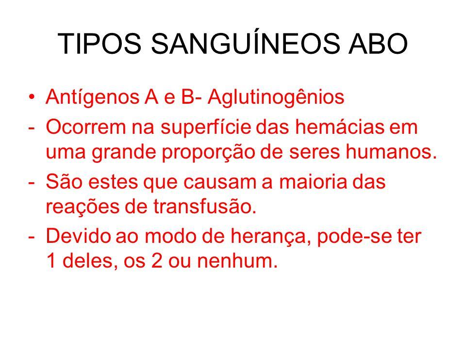 TIPOS SANGUÍNEOS ABO Antígenos A e B- Aglutinogênios -Ocorrem na superfície das hemácias em uma grande proporção de seres humanos. -São estes que caus