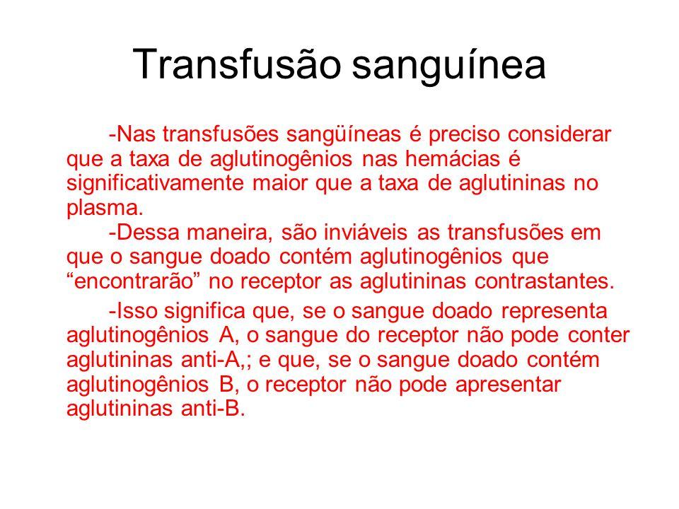 Transfusão sanguínea -Nas transfusões sangüíneas é preciso considerar que a taxa de aglutinogênios nas hemácias é significativamente maior que a taxa