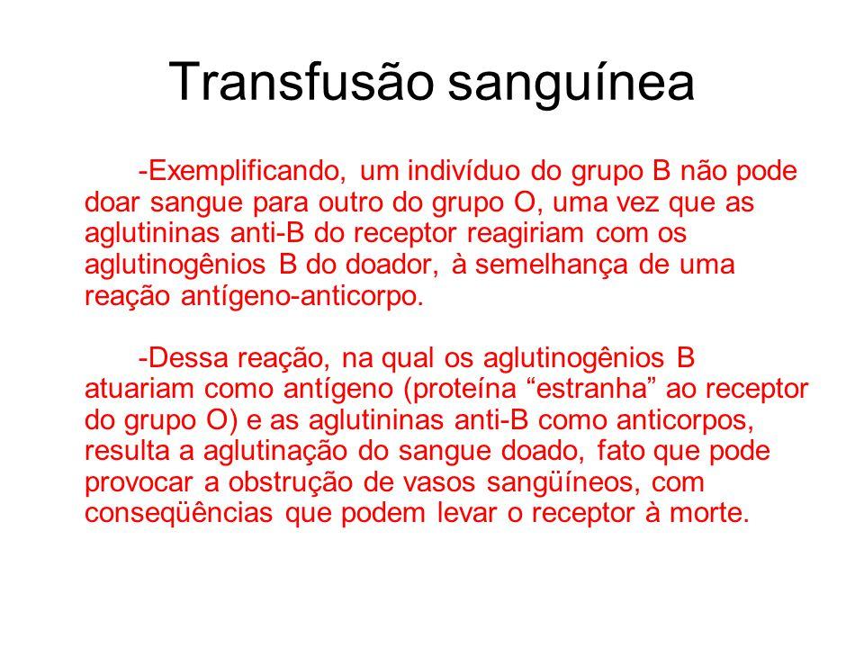 Transfusão sanguínea -Exemplificando, um indivíduo do grupo B não pode doar sangue para outro do grupo O, uma vez que as aglutininas anti-B do recepto