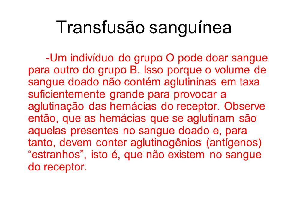 Transfusão sanguínea -Um indivíduo do grupo O pode doar sangue para outro do grupo B. Isso porque o volume de sangue doado não contém aglutininas em t
