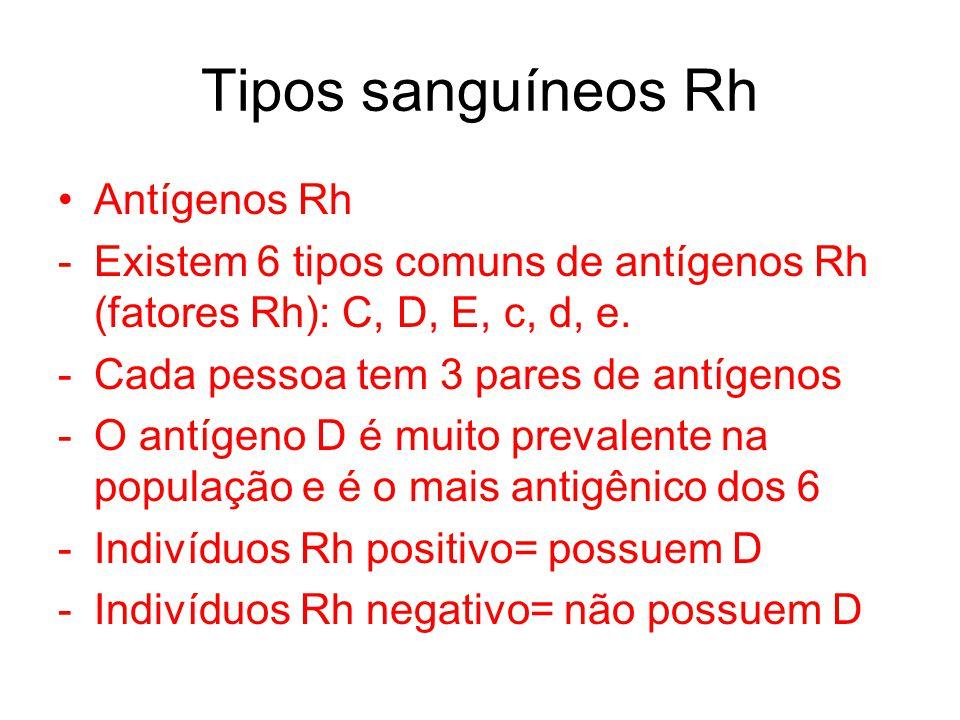 Tipos sanguíneos Rh Antígenos Rh -Existem 6 tipos comuns de antígenos Rh (fatores Rh): C, D, E, c, d, e. -Cada pessoa tem 3 pares de antígenos -O antí