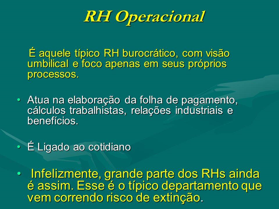 RH Operacional RH Operacional É aquele típico RH burocrático, com visão umbilical e foco apenas em seus próprios processos.