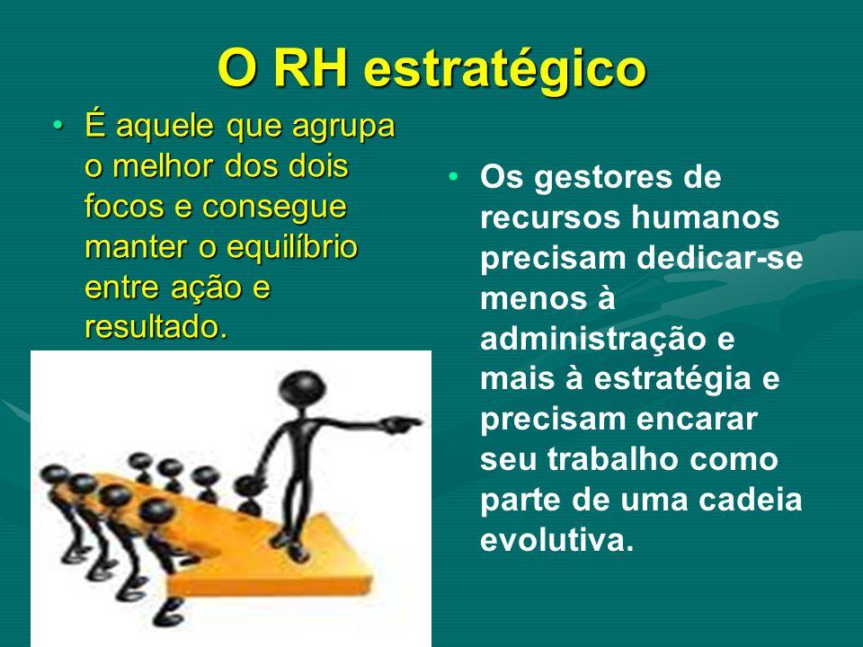 O RH estratégico É aquele que agrupa o melhor dos dois focos e consegue manter o equilíbrio entre ação e resultado.É aquele que agrupa o melhor dos dois focos e consegue manter o equilíbrio entre ação e resultado.