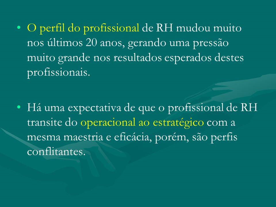 O perfil do profissional de RH mudou muito nos últimos 20 anos, gerando uma pressão muito grande nos resultados esperados destes profissionais.