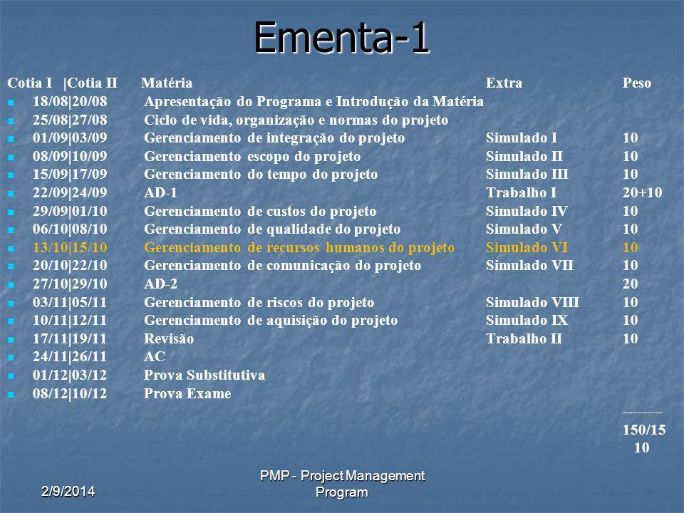 2/9/2014 PMP - Project Management Program Ementa-1 Cotia I |Cotia II MatériaExtraPeso 18/08|20/08 Apresentação do Programa e Introdução da Matéria 25/