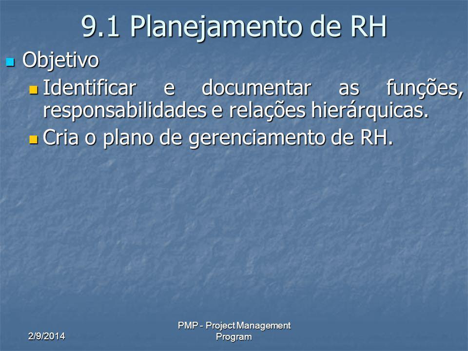 2/9/2014 PMP - Project Management Program 9.1 Planejamento de RH Objetivo Objetivo Identificar e documentar as funções, responsabilidades e relações h