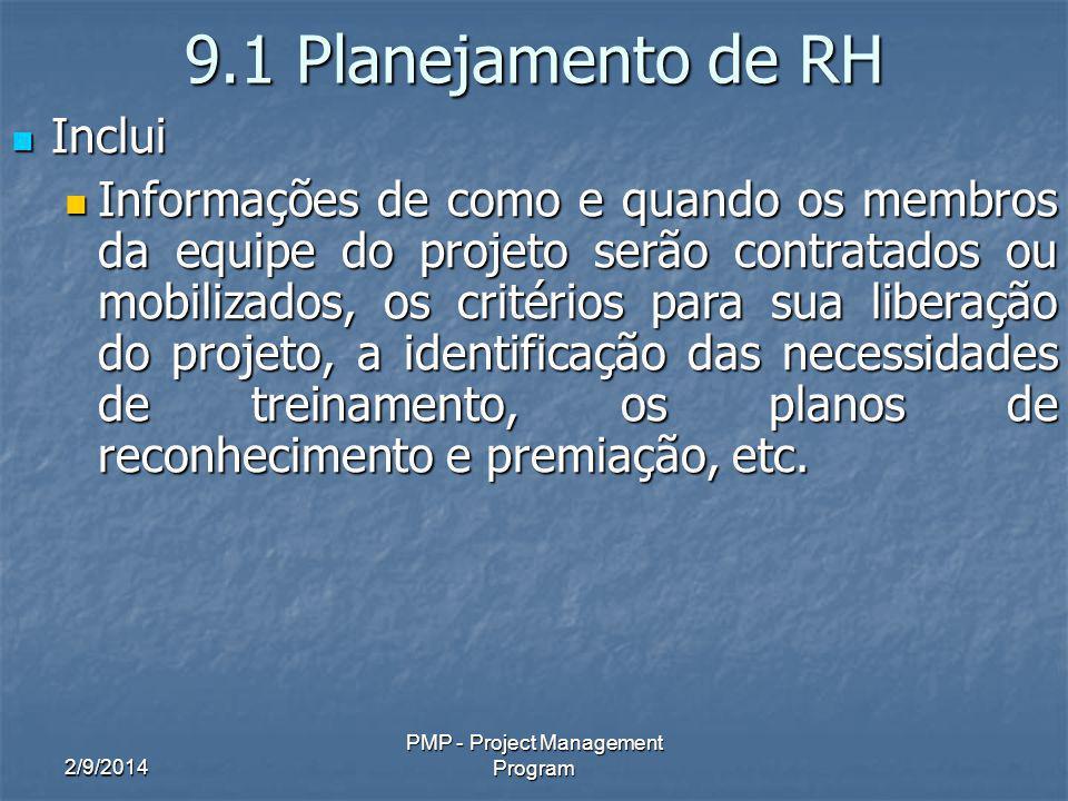2/9/2014 PMP - Project Management Program 9.1 Planejamento de RH Inclui Inclui Informações de como e quando os membros da equipe do projeto serão contratados ou mobilizados, os critérios para sua liberação do projeto, a identificação das necessidades de treinamento, os planos de reconhecimento e premiação, etc.