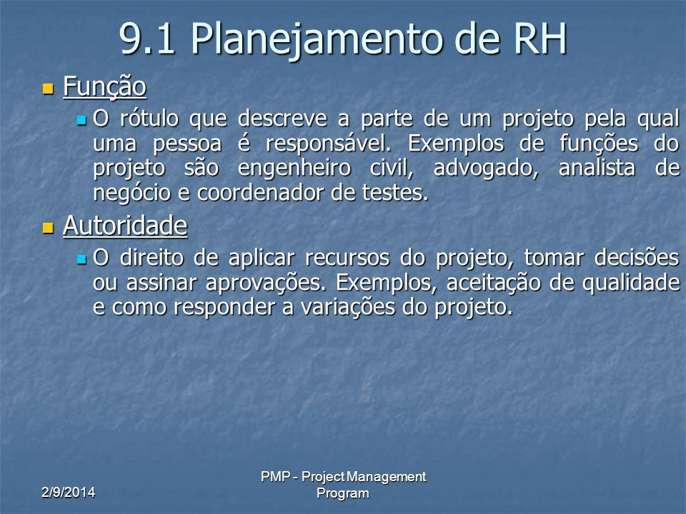 2/9/2014 PMP - Project Management Program 9.1 Planejamento de RH Função Função O rótulo que descreve a parte de um projeto pela qual uma pessoa é responsável.