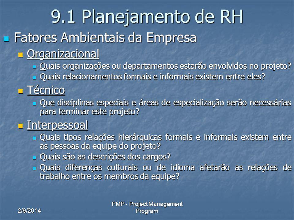 2/9/2014 PMP - Project Management Program 9.1 Planejamento de RH Fatores Ambientais da Empresa Fatores Ambientais da Empresa Organizacional Organizaci