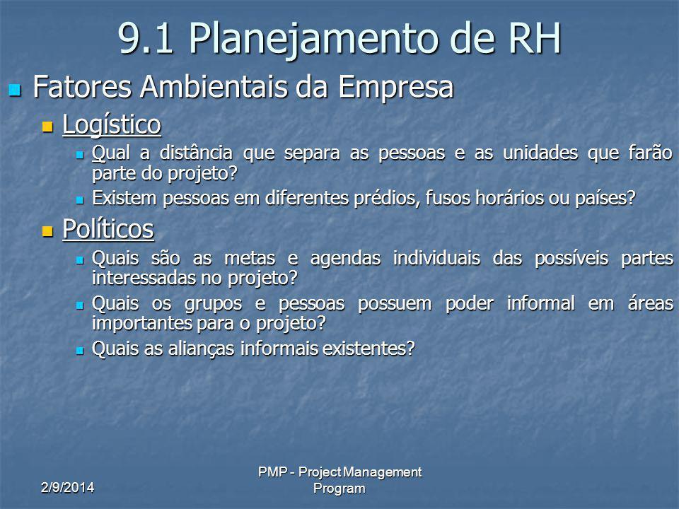 2/9/2014 PMP - Project Management Program 9.1 Planejamento de RH Fatores Ambientais da Empresa Fatores Ambientais da Empresa Logístico Logístico Qual