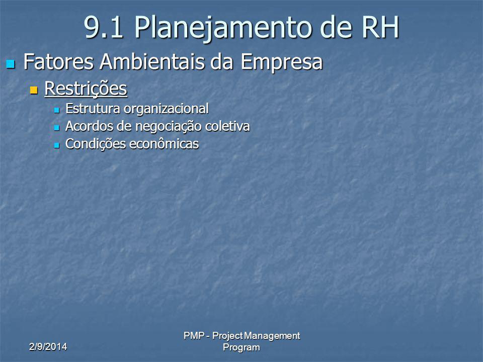 2/9/2014 PMP - Project Management Program 9.1 Planejamento de RH Fatores Ambientais da Empresa Fatores Ambientais da Empresa Restrições Restrições Estrutura organizacional Estrutura organizacional Acordos de negociação coletiva Acordos de negociação coletiva Condições econômicas Condições econômicas