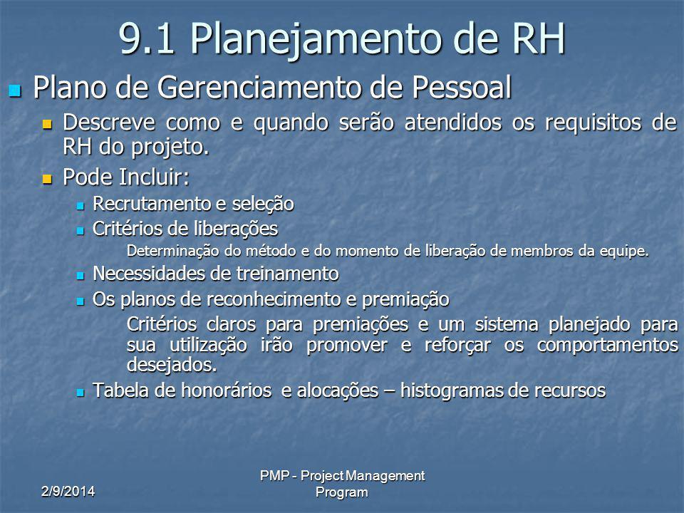 2/9/2014 PMP - Project Management Program 9.1 Planejamento de RH Plano de Gerenciamento de Pessoal Plano de Gerenciamento de Pessoal Descreve como e q