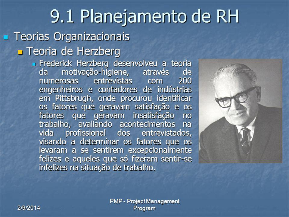 2/9/2014 PMP - Project Management Program 9.1 Planejamento de RH Teorias Organizacionais Teorias Organizacionais Teoria de Herzberg Teoria de Herzberg
