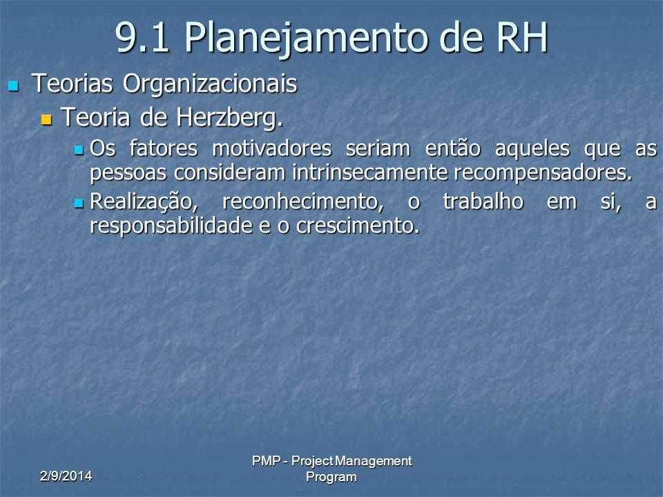 2/9/2014 PMP - Project Management Program 9.1 Planejamento de RH Teorias Organizacionais Teorias Organizacionais Teoria de Herzberg.