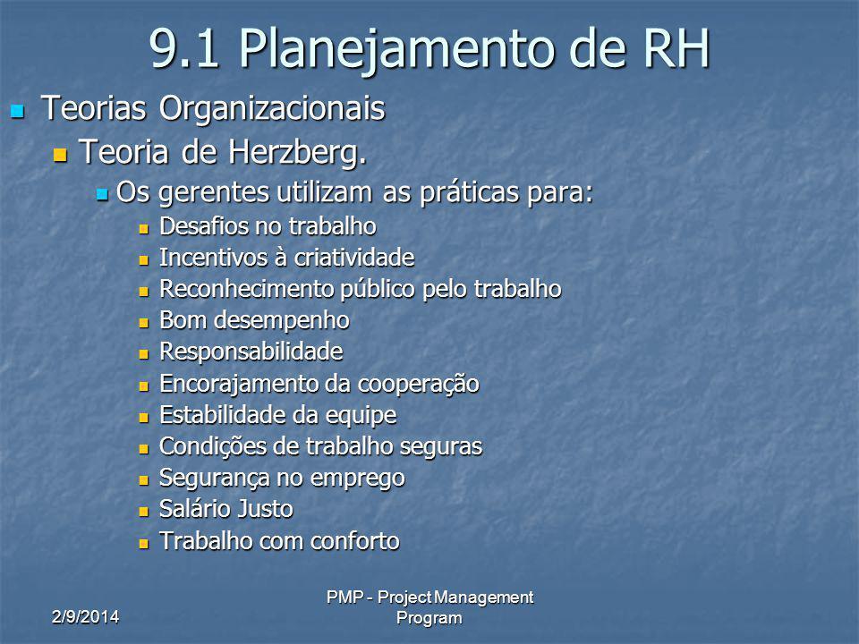 2/9/2014 PMP - Project Management Program 9.1 Planejamento de RH Teorias Organizacionais Teorias Organizacionais Teoria de Herzberg. Teoria de Herzber