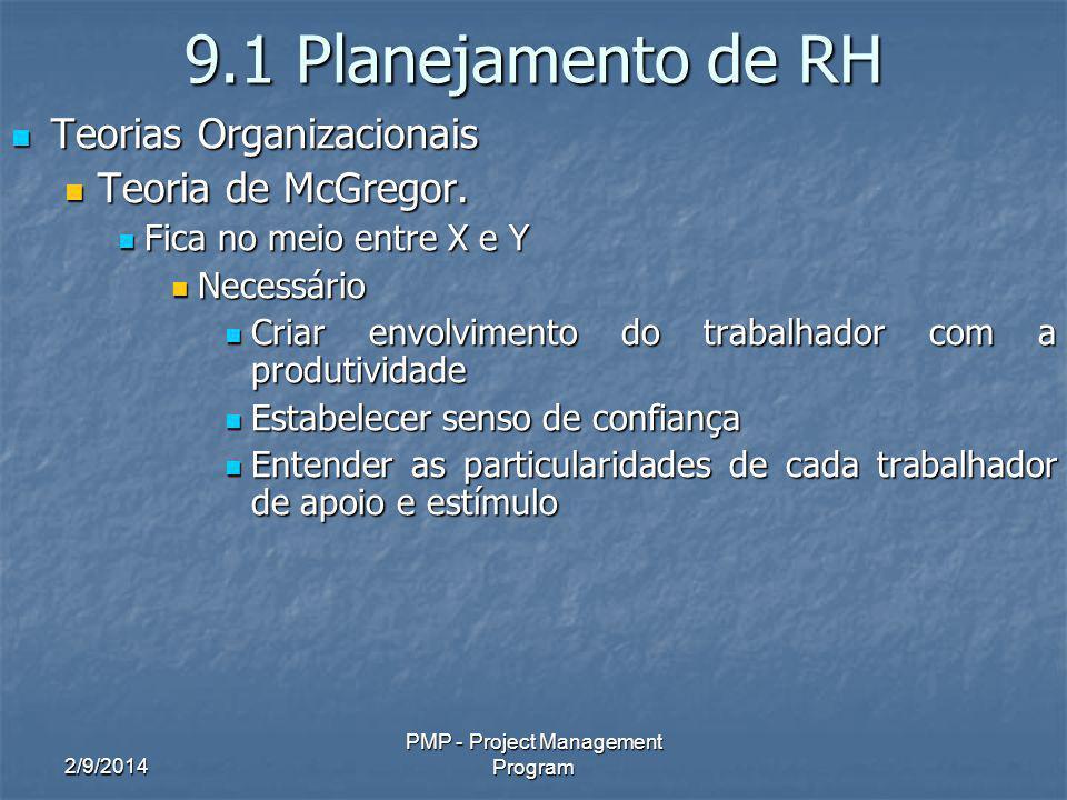 2/9/2014 PMP - Project Management Program 9.1 Planejamento de RH Teorias Organizacionais Teorias Organizacionais Teoria de McGregor. Teoria de McGrego