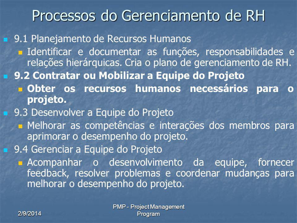 2/9/2014 PMP - Project Management Program Processos do Gerenciamento de RH 9.1 Planejamento de Recursos Humanos Identificar e documentar as funções, r