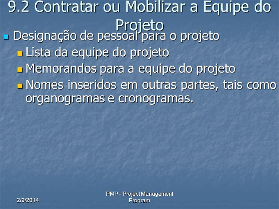 2/9/2014 PMP - Project Management Program 9.2 Contratar ou Mobilizar a Equipe do Projeto Designação de pessoal para o projeto Designação de pessoal pa