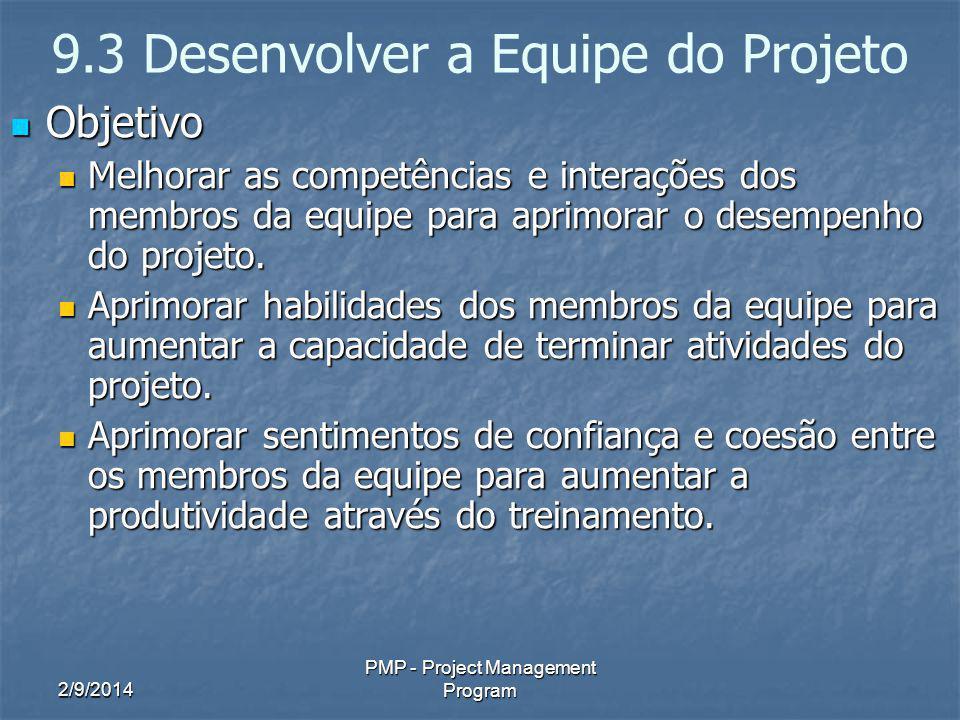 2/9/2014 PMP - Project Management Program 9.3 Desenvolver a Equipe do Projeto Objetivo Objetivo Melhorar as competências e interações dos membros da e