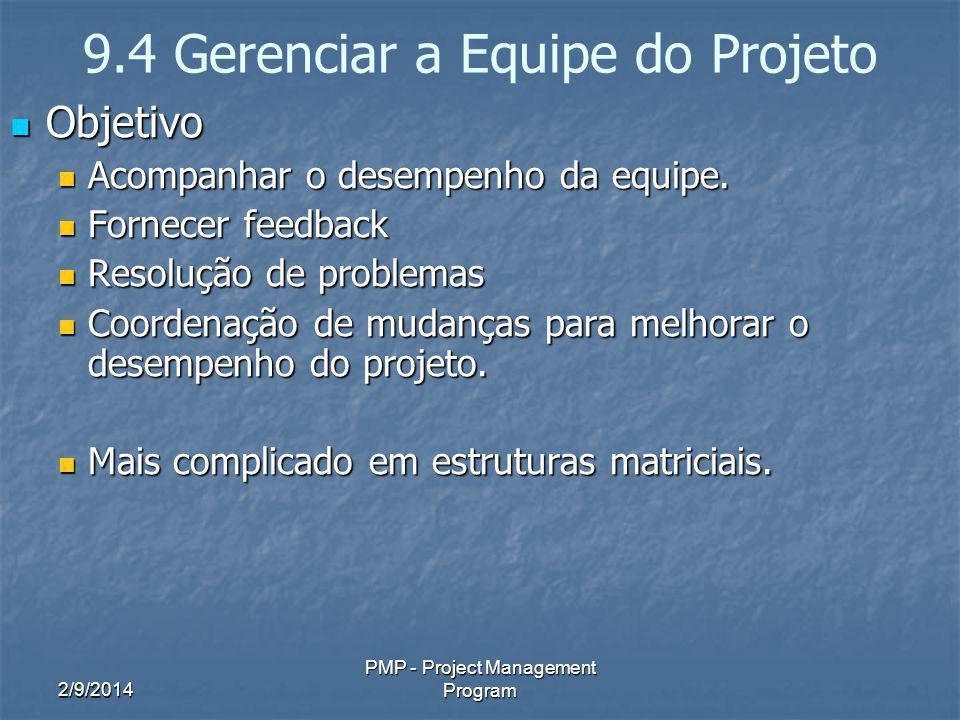 2/9/2014 PMP - Project Management Program 9.4 Gerenciar a Equipe do Projeto Objetivo Objetivo Acompanhar o desempenho da equipe. Acompanhar o desempen